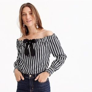 J Crew  off the shoulder stripped top